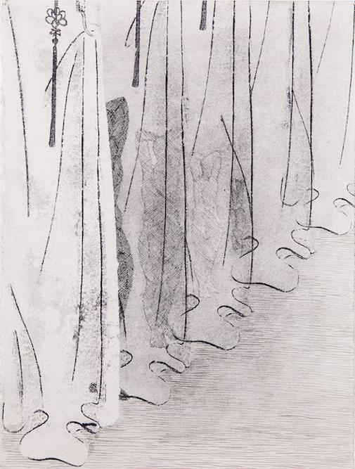 Figure with Curtain, 2014 charcoal, graphite, ink and xerox transfer on paper, 15 x 11 1/2 inches