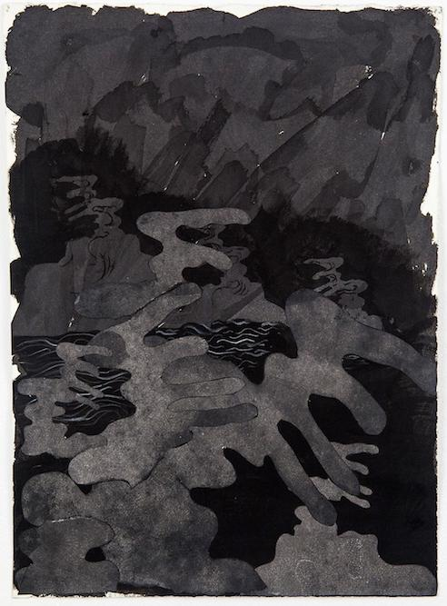 Dark Waves, 2014 ink, charcoal and collage on paper, 15 x 11 inches