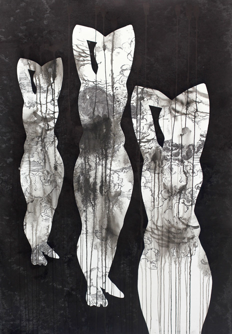 Figures with Rainstorm, 2013 Ink, xerox transfer and monoprint on paper, 44 x 30 inches