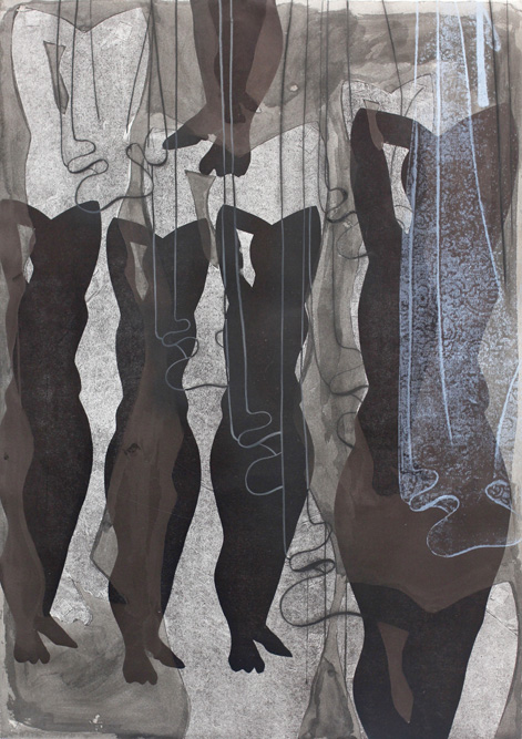 Figures with Curtains, 2013 Crayon, conte, ink and monoprint on paper, 41 1/2 x 29 1/2 inches