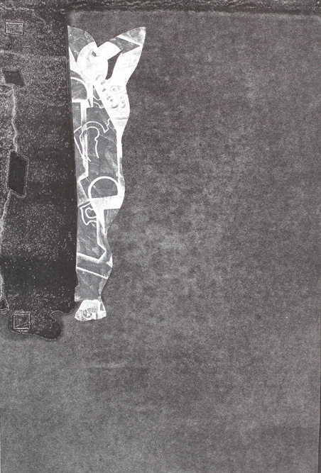 Figure with Curtain, 2013 Graphite, xerox transfer and monoprint on paper, 22 x 15 inches