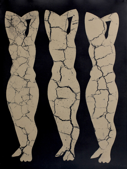 Collapsing Figures, 2013 Monoprint and ink on paper, 30 x 22 inches