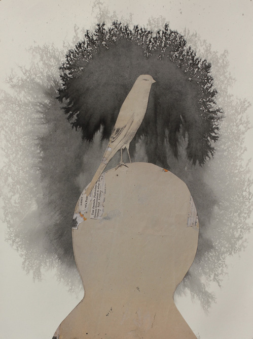 Head with Bird, 2013 Ink and collage on paper, 15 x 11 inches