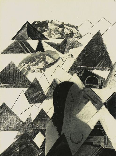 Woman with Mountains, 2013 Charcoal, ink and transfer on paper, 15 x 11 inches