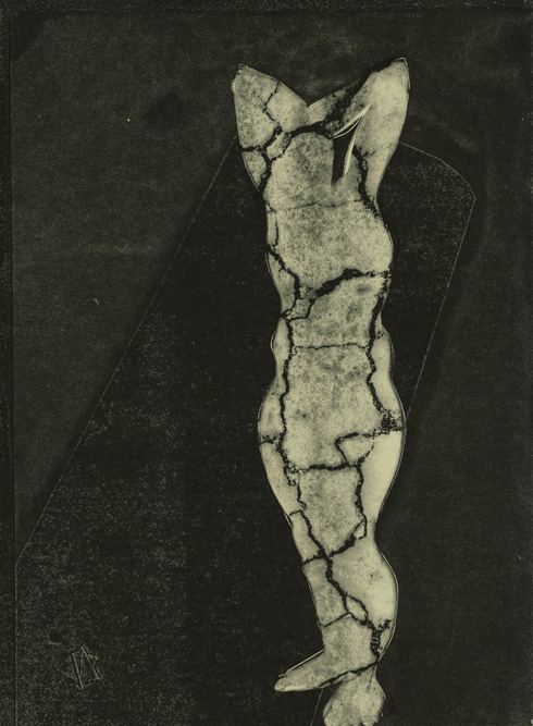 Collapsing Figure, 2013 Monoprint and transfer on paper, 15 x 11 inches
