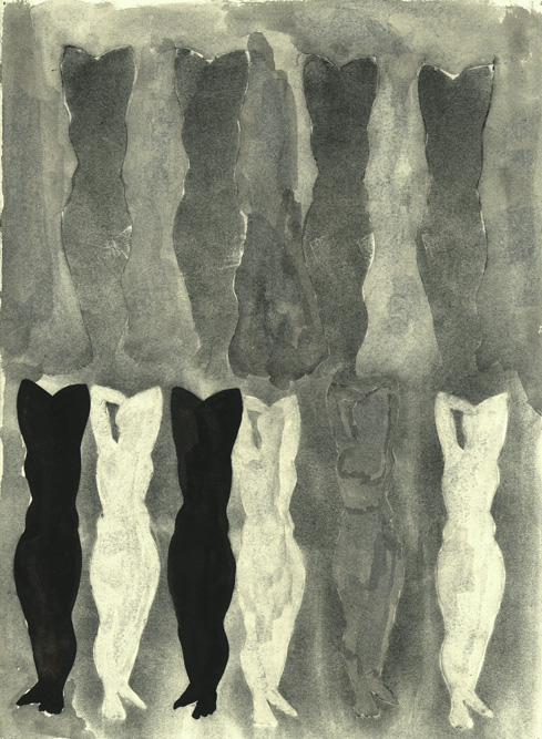 Standing Figures, 2013 Charcoal and ink on paper, 15 x 11 inches