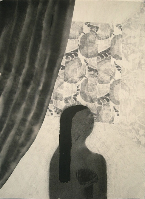 Girl with Curtain, 2011 Ink, graphite and xerox transfer on paper, 15 x 11 inches
