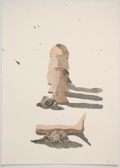 49. 3 Heads and a Leg, 2010 Charcoal and gesso on paper, 15 x 11 inches