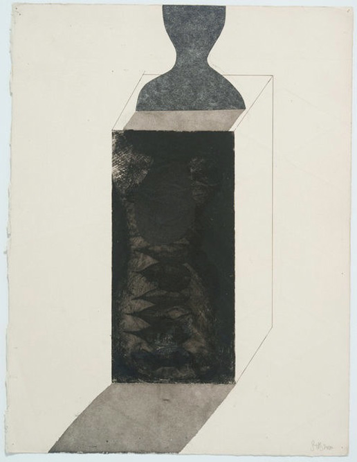 Sculpture #1, 2010 Ink and collage and drypoint on paper, 15 x 11 inches