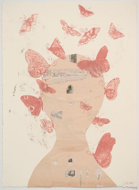 Head with Butterflies, 2010 Ink and collage on paper, 15 x 11 inches