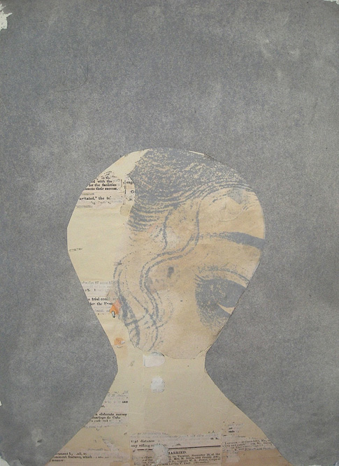 Shy Girl (Gray), 2010 Ink and collage on paper, 15 x 11 inches