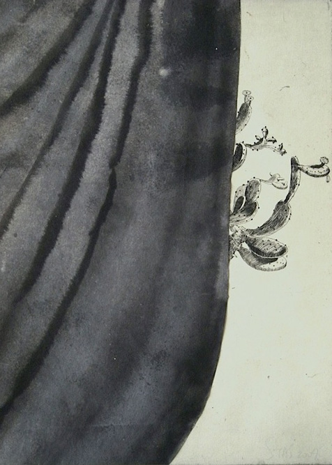 Cactus with Curtain II, 2009 Ink and etching on paper, 14 1/2 x 10 3/4 inches