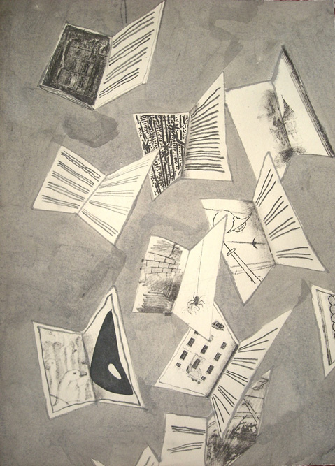 Books, 2009 Ink and xerox transfer on paper, 15 x 11 inches