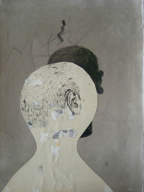 Two Heads, 2009 Ink, crayon and xerox transfer on paper, 15 x 10 3/4 inches