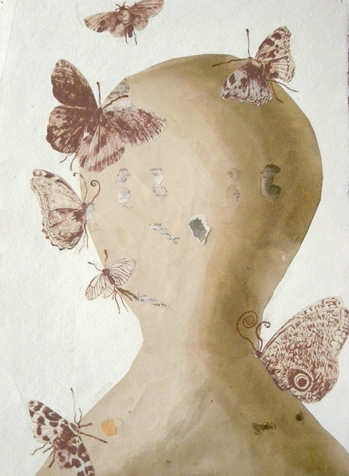 Head with Butterflies, 2009 Ink, collage and monoprint on paper, 11 1/4 x 8 1/4 inches