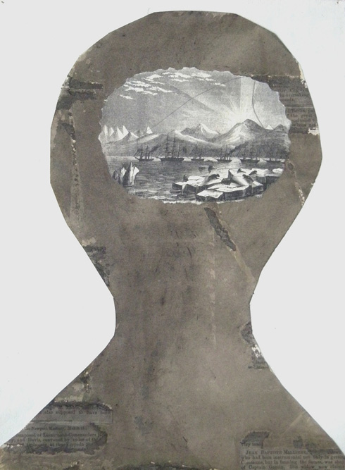 Head with Icebergs, 2009 Ink and collage on paper, 11 1/4 x 8 1/4 inches