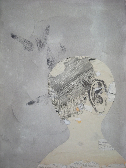 Head with Beach Scene, 2009 Ink, collage and xerox transfer on paper 15 x 11 inchesHead with Beach Scene, 2009 Ink, collage and xerox transfer on paper 15 x 11 inches