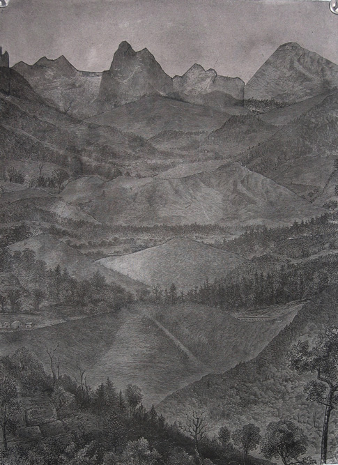 Dark Valley, 2004 Ink and collage on paper, 15 x 10 inches
