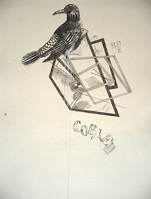 76. Sculpture with Bird II, 2004 Graphite and ink on paper, 15 x 10 inches