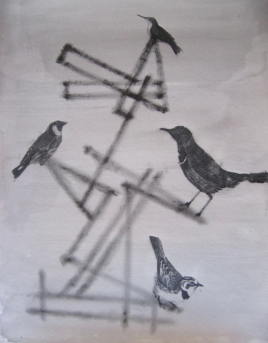 Sculpture with Bird III, 2004 Graphite and ink on paper, 15 x 10 inches