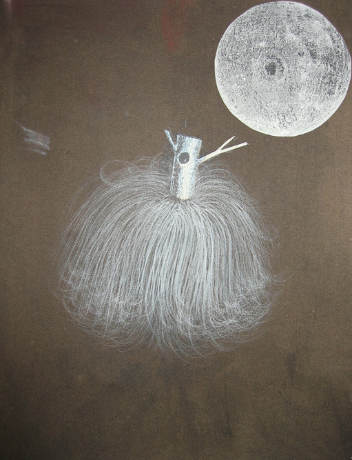 Head with Tree and Moon, 2003 Charcoal, ink and collage on paper, 13 x 10 3/4 inches