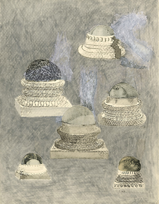 Heads with Pedestals, 2002 Ink, charcoal and xerox transfer on paper, 13 x 10 inches