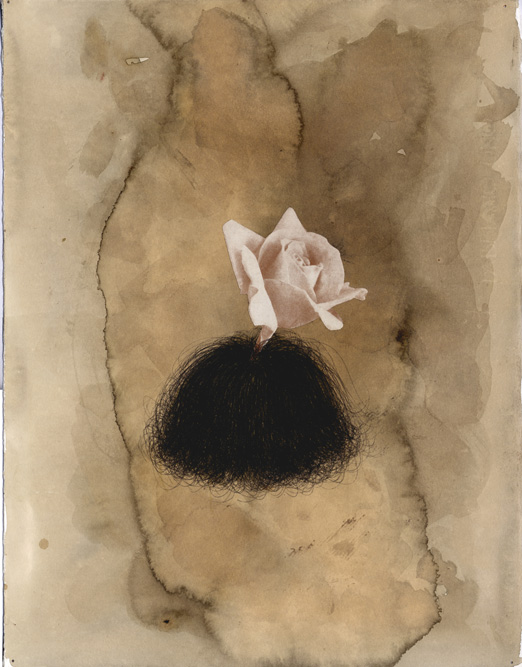 Head with Rose (Open), 2002 Charcoal, collage and ink on paper, 14 3/4 x 11 1/4 inches