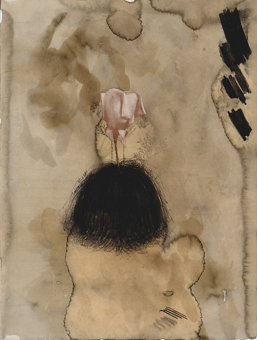 Head with Rose (Closed), 2002 Charcoal, collage and ink on paper, 14 3/4 x 11 1/4 inches