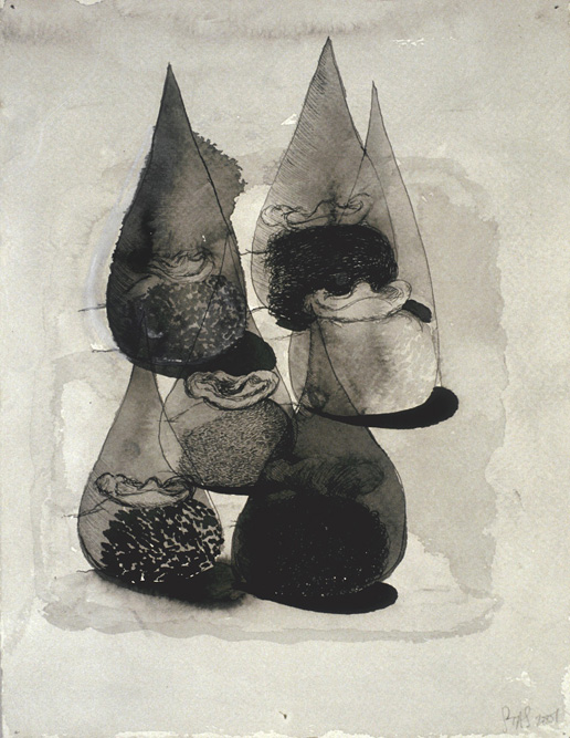 Heads with Drops, 2000 Ink and watercolor on paper, 13 x 10 inches