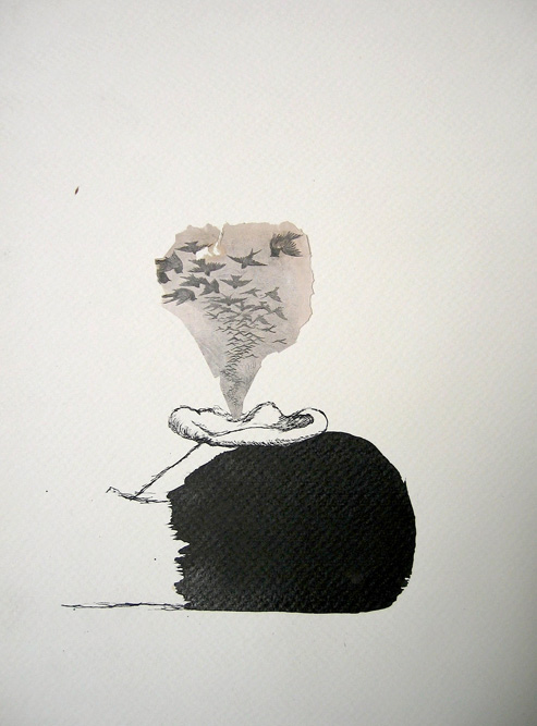 Head with Birds, 1999 Ink and collage on paper, 13 x 10 inches