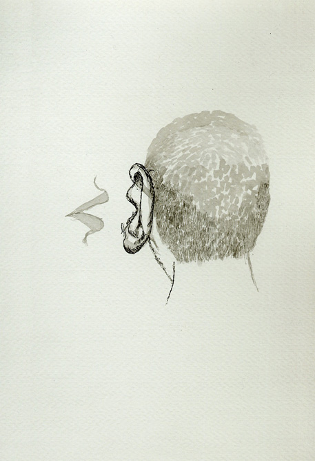 Whisper, 1999 Ink on paper, 14 x 11 inches