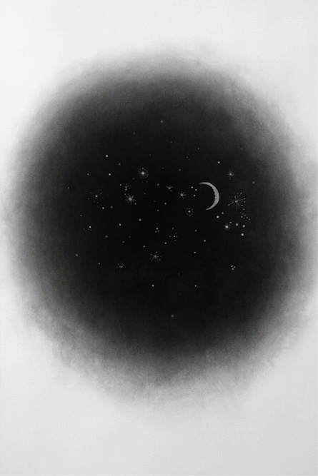 Moon and Stars II (detail), 2013 Charcoal on paper, 50 x 36 inches