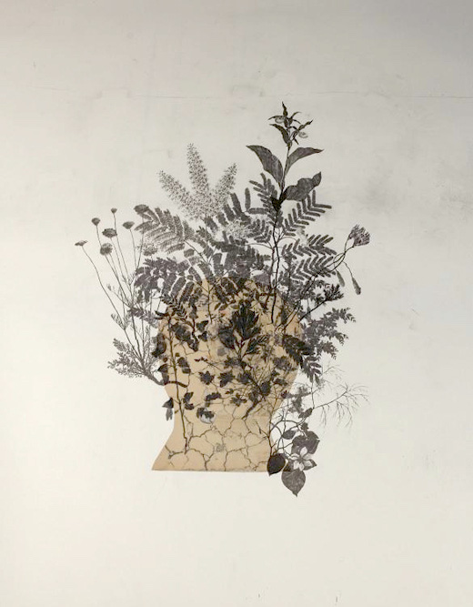 Head, 2012 Charcoal, graphite, Xerox transfer and collage on paper, 46 x 36 inches