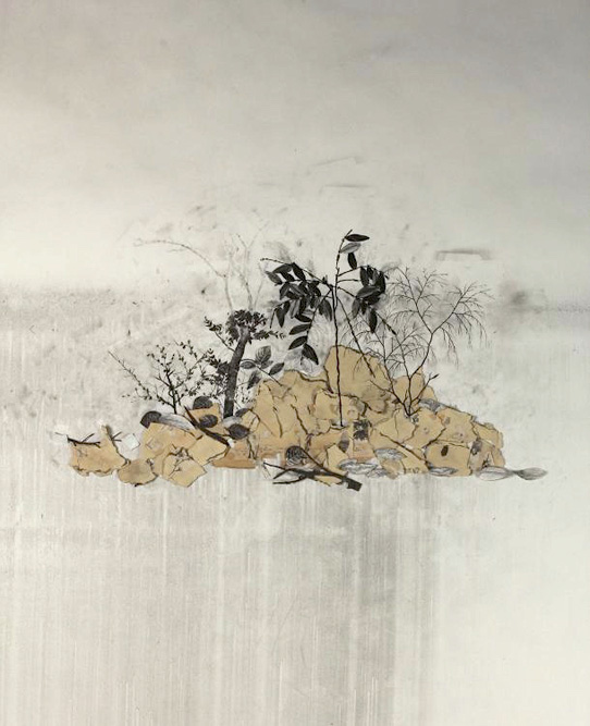 Collapsing Head, 2012 Charcoal, graphite, Xerox transfer and collage on paper, 46 x 36 inches