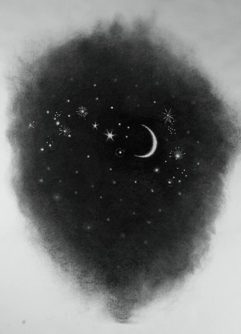 Moon and Stars, 2012 Charcoal on paper, 50 x 36 inches
