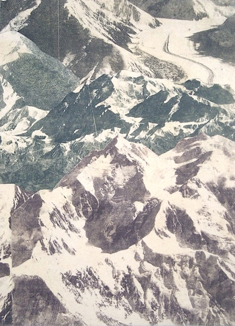Small Alpine, 2010 Ink and collage on paper, 15 x 11 inches