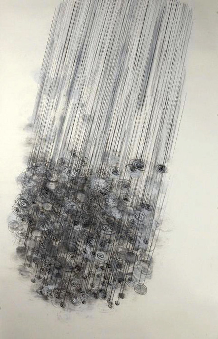 Rain, 2012 Charcoal and gesso on paper, 60 x 36 inches