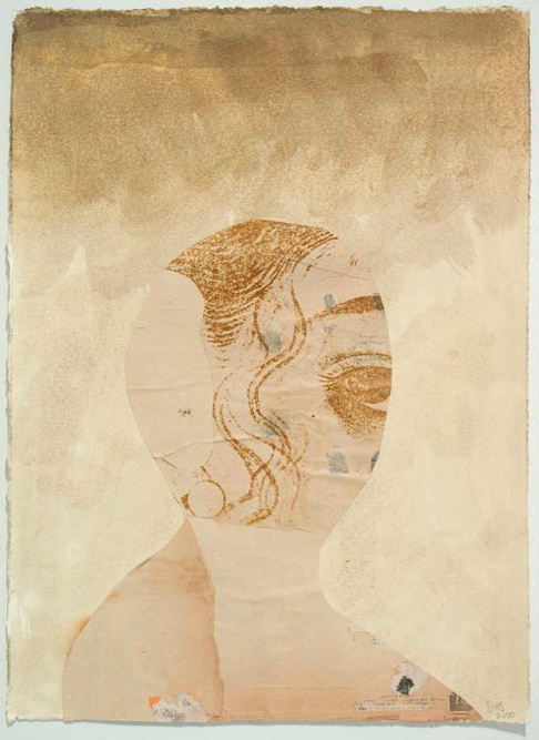 Shy Girl (Gold), 2010 Ink and collage on paper, 15 x 11 inches