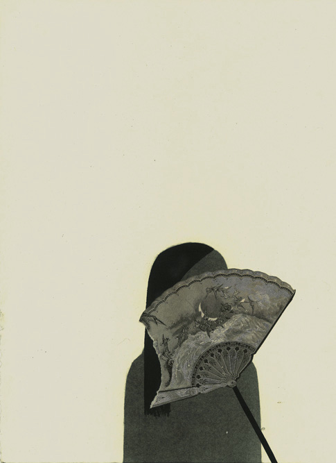 Woman with Fan, 2013 Charcoal, ink and collage on paper, 15 x 11 inches
