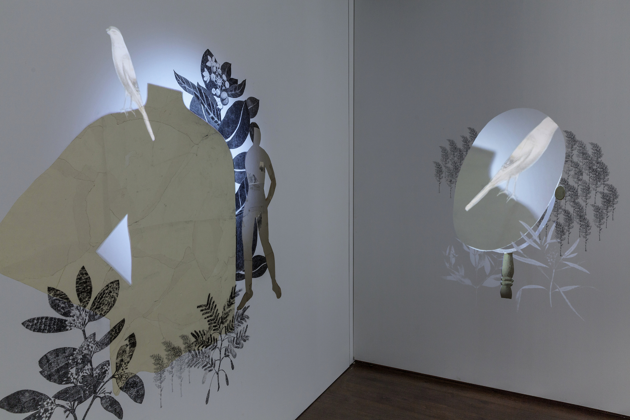 Chimera,  Installation View, We Must Risk Delight: 20 Artists from Los Angeles, curated by Elizabeta Betinski, La Biennale di Venezia, Biennale Arte 2015, Magazzino del Sale No. 3, May 9 - Nov 22, 2015. Charcoal, ink, xerox transfer, collage and projected animation on wall. Sound by Steve Roden. Post-Production Beau Leduc.