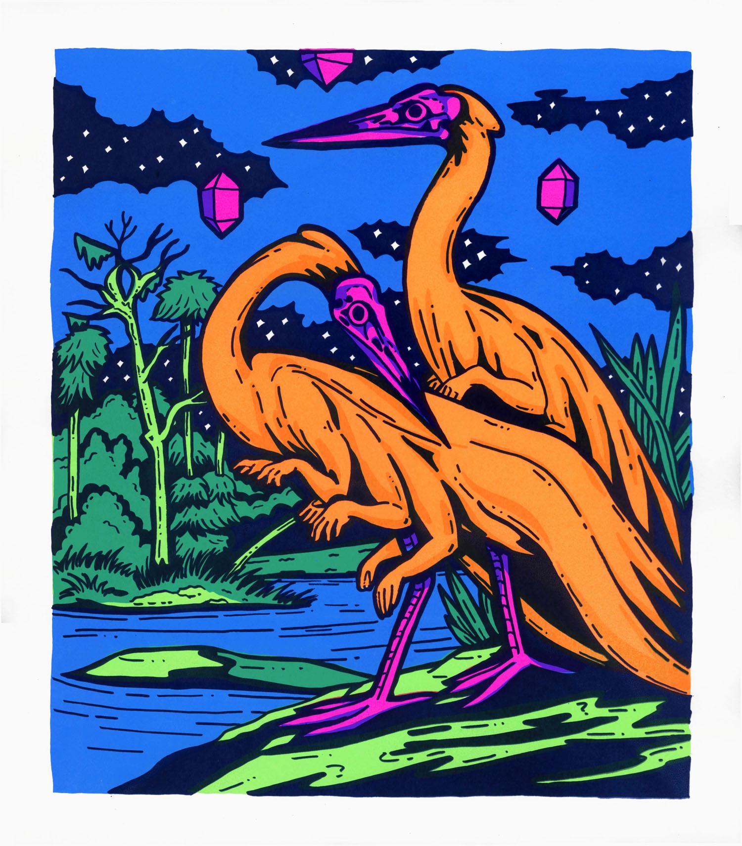 Herons by Stream