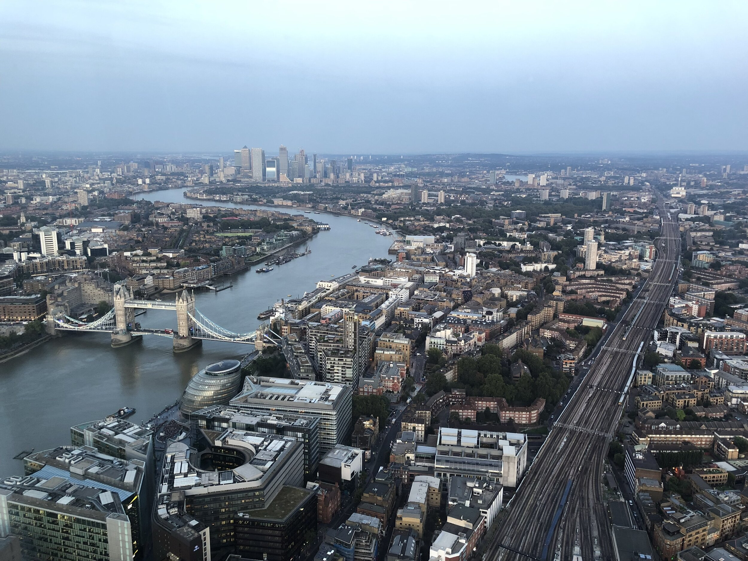 Looking out from The Shard toward Tower Bridge.