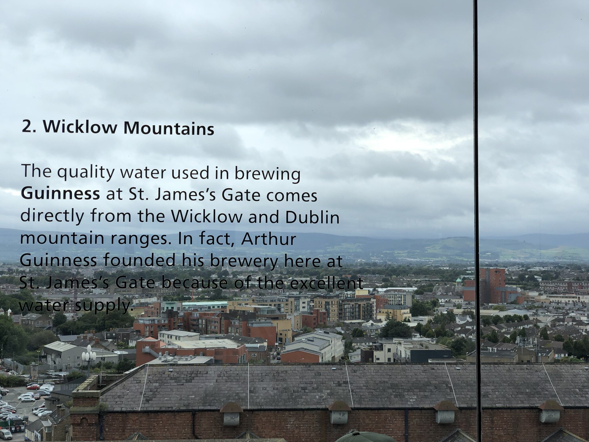 View of the Wicklow Mountains from the Lounge at the top of the Guinness Storehouse