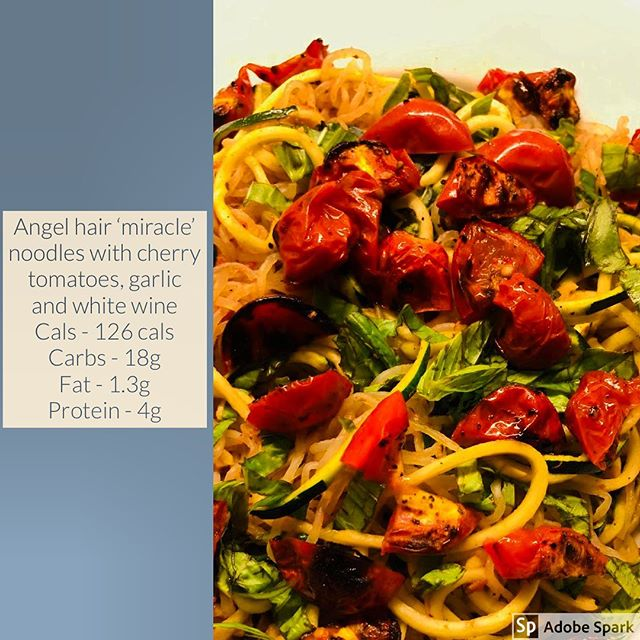 Recipe of the week - Angel hair 'miracle pasta' with courgette, cherry tomatoes, garlic and white wine.  I am always trying to find / create delicious tasting recipes that are filling, nutritious and don't make me feel like I am missing out.... at the same time as being able to meet my macros! I will be sharing a few over the coming weeks and love your thoughts .... if you try them let me know what you think! This recipe will make two portions - or one of you are greedy like me!! Best served with some gorgeous blackened salmon or any protein of your choice!  Calories (for whole serving) - 126 cals Carbs - 18g Fat - 1.3g Protein - 4g  Ingredients and instructions: 1 pack Shirataki noodles ( washed and drained; dry fry for 5-8 mins)  1 green zucchini ( spiralized)  3 cloves of garlic( minced)  3tbsp tomato sauce  5-8 pcs of cherry tomatoes ( cut half, seasoned with salt and pepper; roast for 10 mins)  Handful fresh basil leaves  Salt & pepper to taste Oil spray  Heat oil in the pan. Sautè garlic for 2 mins. Add noodles, salt and pepper. Cook for 5-6 mins , then add tomato sauce. Lastly, put zucchini noodles and cook for another  2 mins. Garnish with roasted cherry tomato and chopped basil. Serve it hot or cold! #healthyfood #healthyrecipes #eatwellbewell #fitnessfood #fitnesstransformation #healthyliving #veganrecipes #healingfoods #dietrecipes_main_dishes #foodporn #instafood  #eatclean
