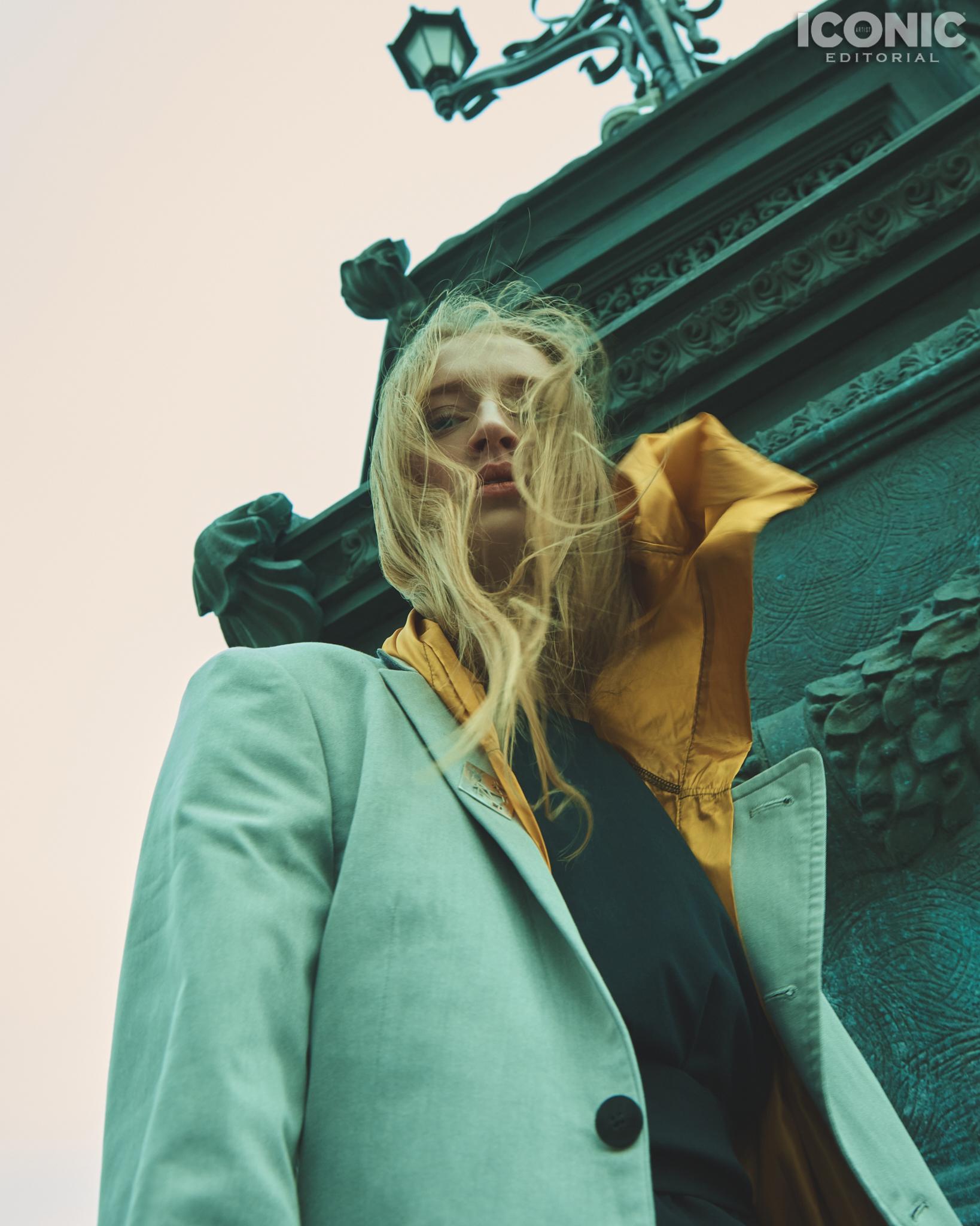 13/15  Jacket |  @artemshumov  Sweater |  @pingpongclubmoscow  Cape |  @crimescene_official  Dress |  @lenamaksimova.brand   © Alej Fernández