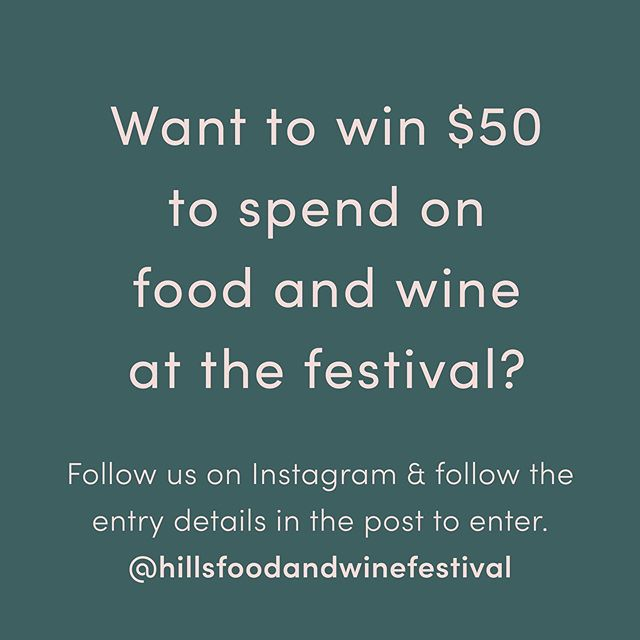 OUR FINAL GIVEAWAY 🎉 All you need to do is make sure you are following us on Instagram and comment with a 🥂 and you could win! Winner will be drawn on Friday 11th. . . #HillsFoodandWineFestival #HillsDistrict #FoodandWineFestival #HillsFoodie #FoodBlogger #hfwf #sydneyfood #sydneyeats #whatsonsydney #wine #winetasting #food #winelovers #beer #instawine #winery #foodporn #winestagram #winetime #cocktails #drinks #bar #foodie #foodtruck #restaurant #whitewine #drink #wineoclock #buzzfeedfood #broadsheetsydney