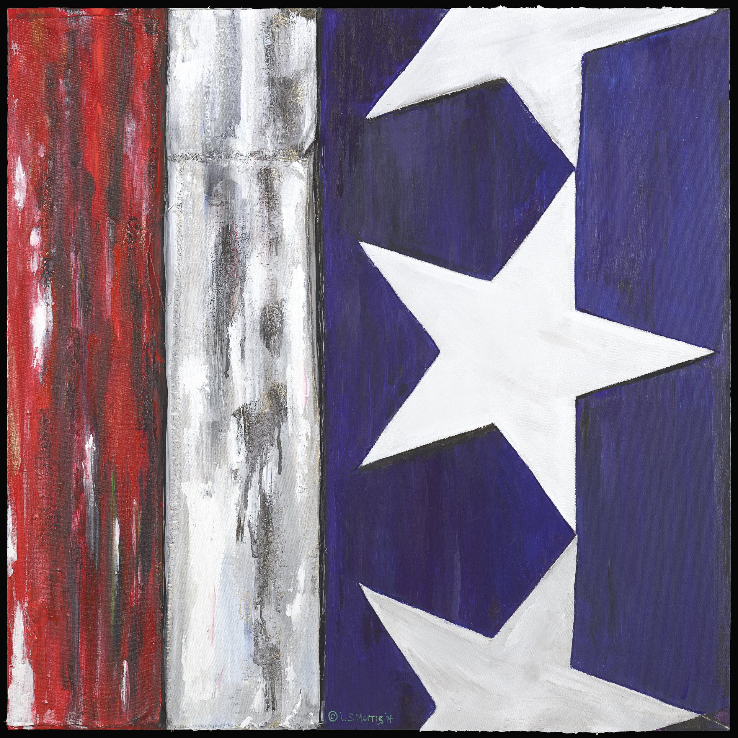 "Flag Divided | 32"" x32"" | Acrylic  and  canvas  on canvas"