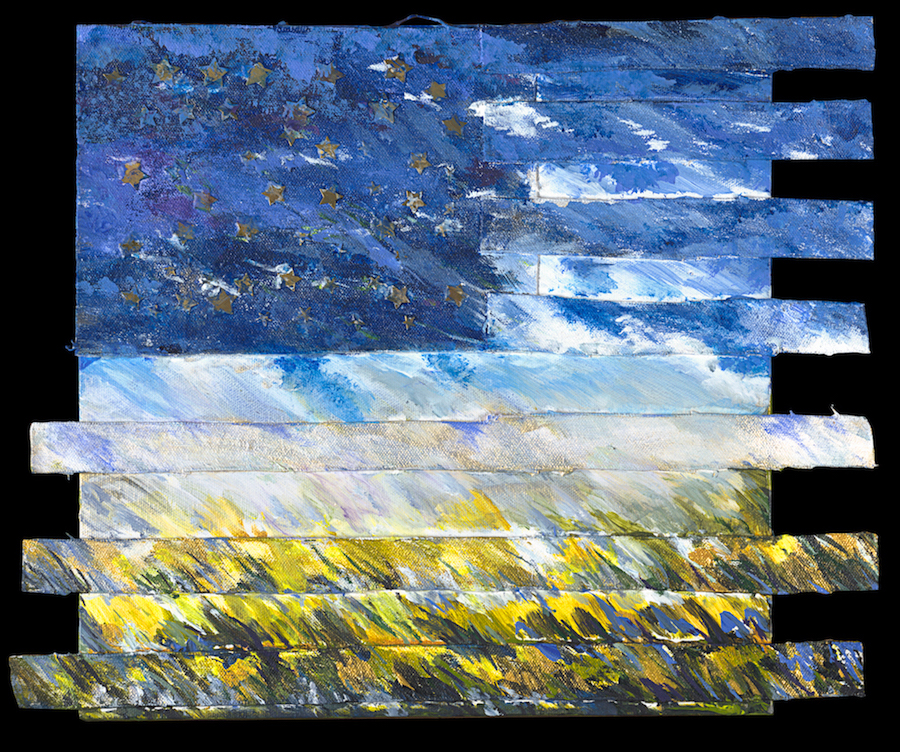 "Stars and Landscape (small) |15""x16"" | Acrylic and Mixed Media"