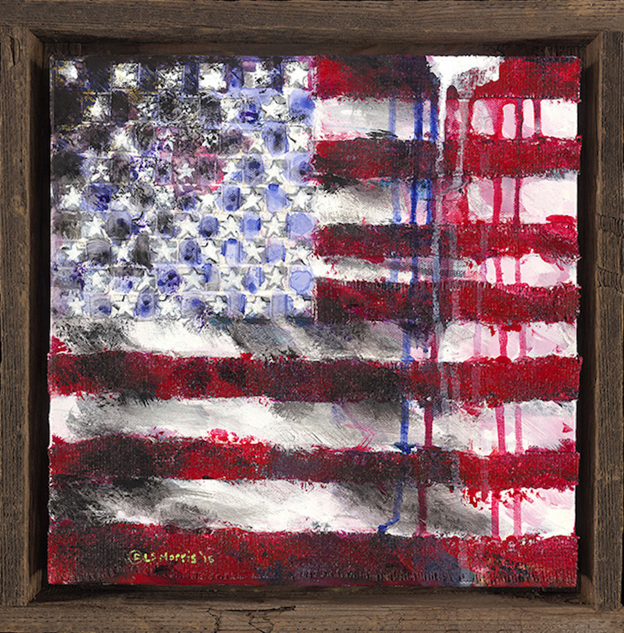 "While My Flag Gently Weeps | 14""x14"" 