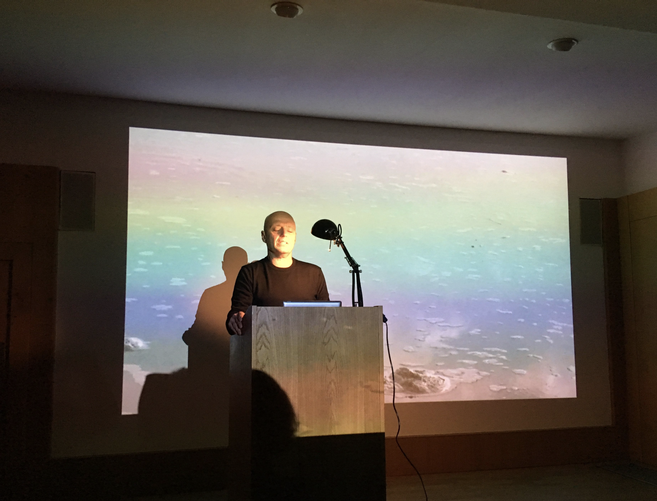 Tzvet Lazar performing the reading of 'The Whole Infernal Sequence' by Reed O'Beirne as part of the Disasters of Peace curated programme at the Whitechapel Gallery, November 2018.